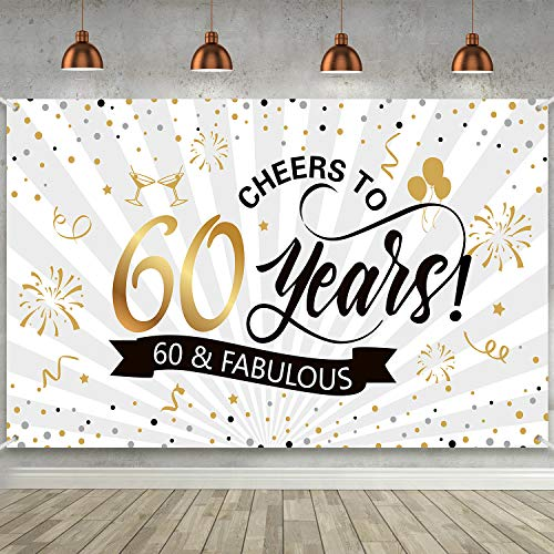 Happy 60th Birthday Backdrop Background Banner Large Men Women 60th Anniversary Backdrop Photo Booth Cheers to 60 Years Banner for 60th Birthday Party Decorations Supplies 72.8 x 43.3 inch
