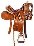 """Y&Z Enterprises - Sella in pelle per cavalli da corsa in stile occidentale, in pelle, con collare per il petto e redini, Marrone, 14.5"""" Inch Seat"""