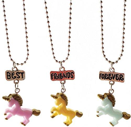 SiAura Material – 1 juego de collares de amistad, diseño de unicornio, rosa, azul, amarillo, longitud 47 cm, 3 unidades