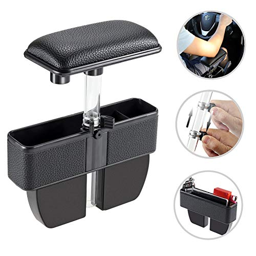 LILER Car Elbow Support Pads and Seat Pockets, Car Console Side Organizer Seat Gap Filler Catch Caddy, Car Central Adjustable Height Comfort Armrest Rest Pads (Black)