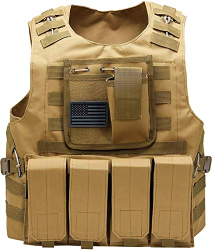 Tactical Airsoft Paintball Vest, Mil Spec 1000D Nylon PALS Molle Modular w/ 4 Mag Pouches, Side Pouch, Chest Mag Pouch+ Free US Flag Patch … (Brown)