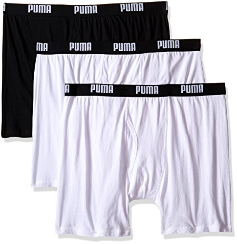 PUMA Men's 3 Pack 100% Cotton Boxer Brief, White Traditional, X-Large