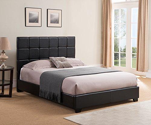 Mantua Kenville Black Upholstered Platform Bed - Easy to Assemble Faux Leather Platform Bed for Queen Beds, Dress Up Your Bedroom, No Box Spring Needed - Model KEN50TBL