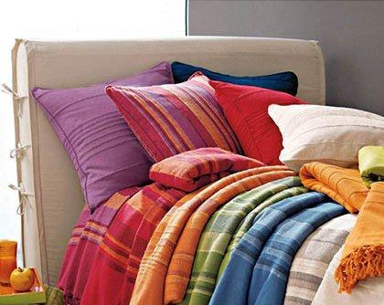 Tata Home Kenya Copriletto Misura 2 Piazze Matrimoniale 255x255 cm 80% Cotone 20% Poliestere Colore Blu