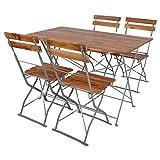 INDA-Exclusiv Juego de mesa y 4 sillas plegables de madera de acacia con recubrimiento de polvo de 120 x 70 cm