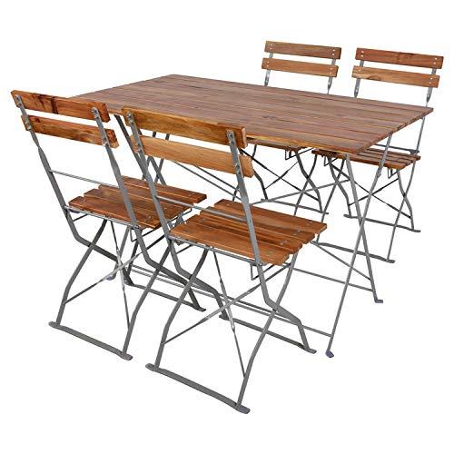 Mojawo Juego de mesa y 4 sillas plegables de madera de acacia y acero pulverizado, 120 x 60 cm