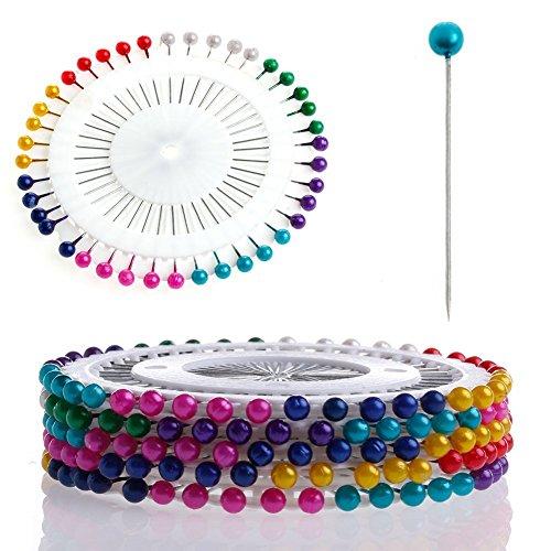 Y&Y Star 480 Pcs Sewing Pins Head Pins Colorful Round Pearl Decorative 3mm Manmade Pearl Straight Head Pins (Head Pins 480pcs)