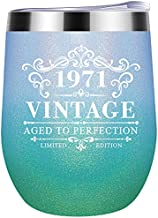 Gifts for Women Turning 50 1971 Vintage Personalized Gifts for Women Men Mom 50th Birthday Gifts for Women Parents Mom Dad 12oz Wine Tumbler for Party Anniversary Reunion Decorations