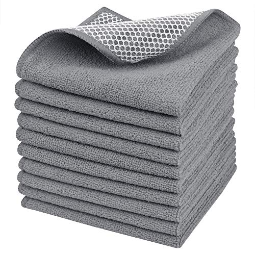 SINLAND Microfiber Dish Cloth Dish Rags for Washing Dishes Best Kitchen Cloths Cleaning Cloths with Poly Scour Side 12Inchx12Inch 10Pack Grey Maryland