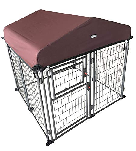 Neocraft My Pet Companion Outdoor Heavy Duty Kennel with Roof Weather Resistant Cover (4'), Waterproof Winter Welded Wire Pet House Shelter – Ideal for Medium Sized Dog Breed, Easy Assembly