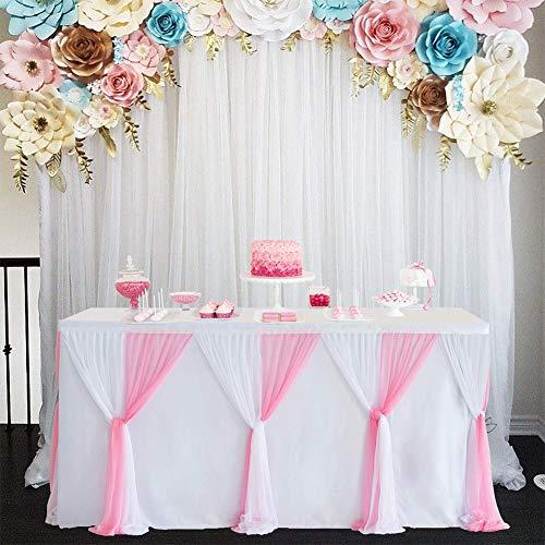Redcolourful Falda de Mesa de Estilo de Rayas para Mesa Redonda de rectángulo Baby Showers Fiesta de cumpleaños Decoración de Boda Rosa Blanca L6 (pies) * H30in