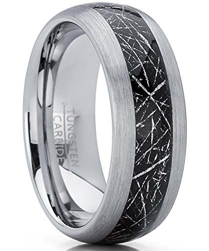 8MM Herren und Damen Wolframcarbid Ring mit Meteorit Einlage Verlobungsringe Trauringe Hochzeitsband Bequemlichkeit Passen Größe 54
