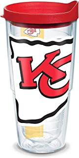 Tervis NFL Kansas City Chiefs Colossal Tumbler with Wrap and Red Lid 24oz, Clear
