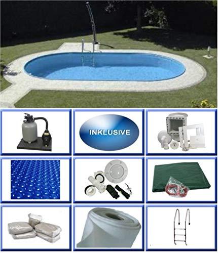 Summer Fun Stahlwandbecken Set Rhodos Exklusiv oval 3,20m x 6,00m x 1,50m Folie 0,6mm Ultra All Inklusive Set Pool Ovalpool / 320 x 600 x 150 cm Stahlwandpool