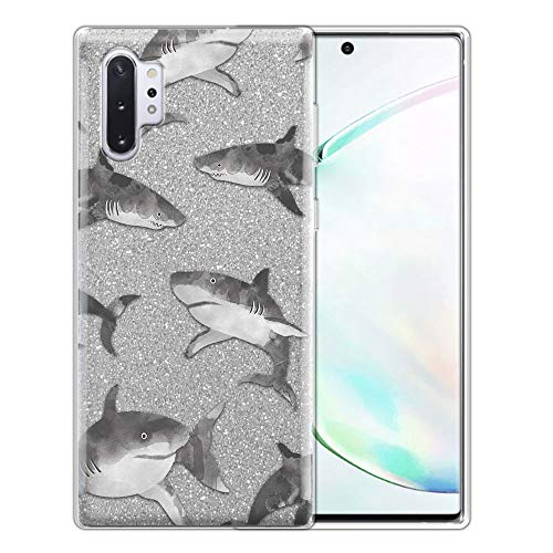 FINCIBO Case Compatible with Samsung Galaxy Note 10+ / 10 Plus 6.8 inch 2019, Shiny Sparkling Silver Bling Glitter TPU Protector Cover Case for Note 10 Plus (NOT FIT Note 10) - Gray Sharks