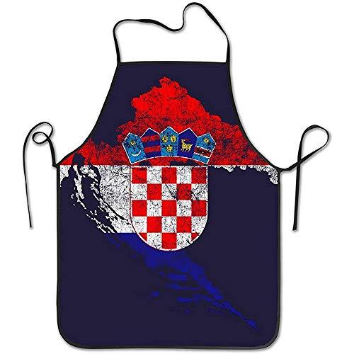 Kroatien Flagge und Karte Kroatische Pride Lätzchen Schürze wasserdichte Event Party Grill Kochen Küchenschürzen für Erwachsene Chef