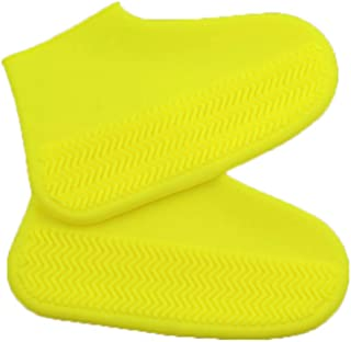 SevenAndEight Waterproof Rainproof Silicone Shoe Cover, Thick Wearable Recyclable Children's Tasteless Shoe Cover Size M (Yellow)