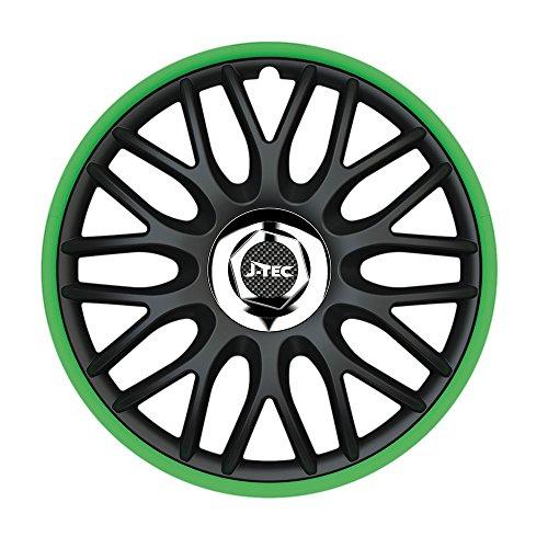 CM DESIGN 13 inch wieldoppen Orden Green (R) (zwart/groen) mat. Wieldoppen geschikt voor bijna alle VW Volkswagen zoals Polo 86 86C 2F!