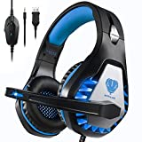Pacrate ゲーミングヘッドセット PS4 PS5 イズキャンセリングヘッドホン 敏感なマイク付き LEDライト クリスタル ステレオ サウンド 高音質 重低音強化 有線 ヘッドセットコンピューターとラップトップとMac用 青
