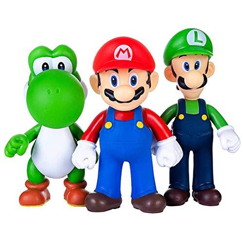 AINOLWAY 3pcs / Set Super Mario Toys - Figurines Mario & Luigi - Figurines Yoshi & Mario Bros Mario PVC Toy Figures