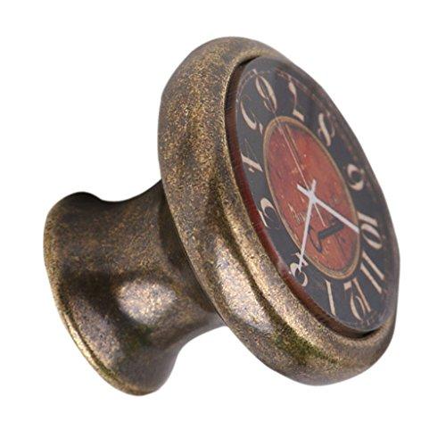 Poignée de Traction Bouton de Porte pour Armoire Tiroir Vintage Motif Horloge - #11