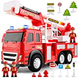 Fire Truck Playset – 1:12 Scale Large Size Toys - Realistic Fire Engine, Extending Rotating Ladder, 3 Firemen, Road Signs, Lights, Sounds - Friction-Powered Truck for Toddlers, Boys, Girls Age 3 4 5