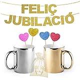 Inedit Festa Jubilació Feliç Guirnalda Dorada para Fiestas Feliç Jubilat Jubilada (CATALÀ)