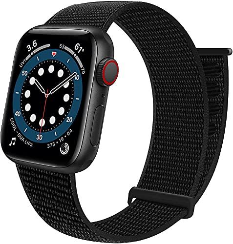 Doinb Sport Loop - Correa de repuesto compatible con Apple Watch, 38 mm, 40 mm, 42 mm, 44 mm, nailon, elástica, transpirable, suave, compatible con iWatch Series SE 6 5 4 3 2 1, Negro , 38mm/40mm,