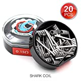 20 PCS Vapethink Shark Coil Bobina de Vaper Wire, Resistencias Vape AWG(0.5mmx3 + 0.2mm Flat), 0.15 ohm