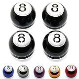 LED-Mafia 4 tapones de válvula, bola de billar, motocicleta, coche, bicicleta, camión, coche (negro)