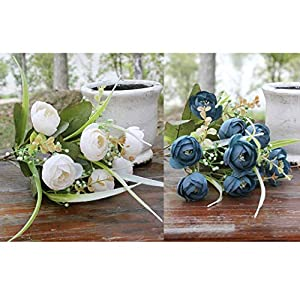 Miyorewe Store Brand With 10 Flower Heads Artificial Silk Flowers Camellia Roses Bouquet Wedding Home Decoration – Flowers Dried Artificial
