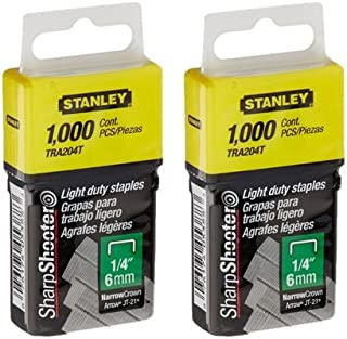 Stanley TRA204T 1/4 Inch Light Duty Narrow Crown Staples, Pack of 1000(Pack of 2000)