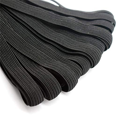 YEUNG Schwarz/Weiß Elastikband, Elastisches Seil/Elastische Schnur Schwerer Stretch Hohe Elastizität-Knit-elastisches Band Soft-Ohr-Krawatte Seil Handgemachte Elastische Bänder (Größe: 8mm X 10m)