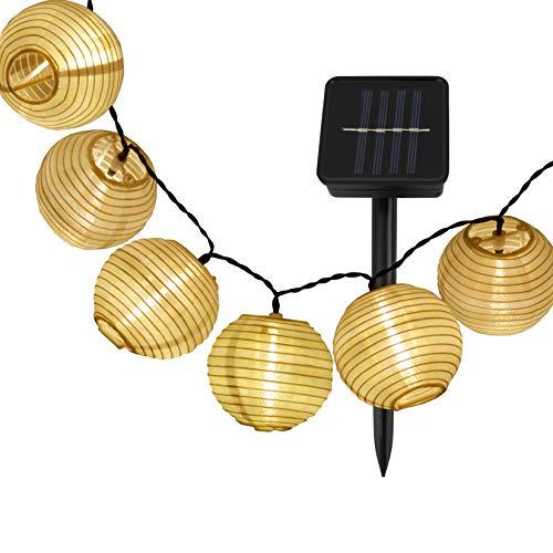 B.K.Licht cadena de luz solar para exterior I 6 metros 30 LEDs I cadena de luz con panel solar I IP44 I sensor crepuscular I jardín I terraza