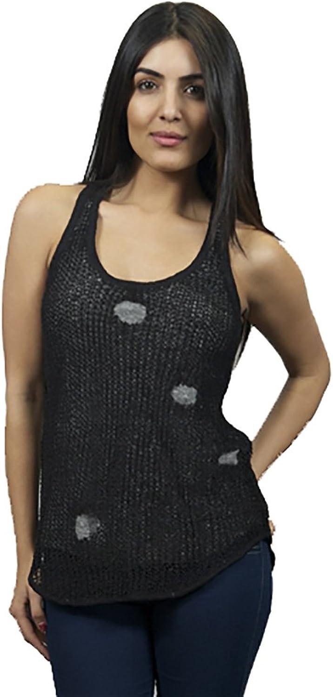 Chaser Women's Destroyed Racer Tank Sweater Black