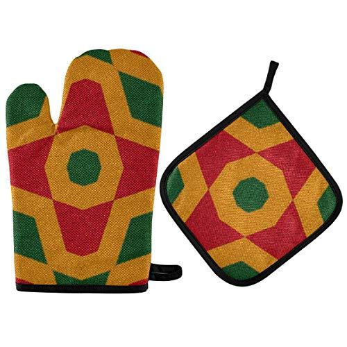 Reggae Colors Crochet Oven Mitts & Pot Holder 2pcs Cocina Resistente al Calor Antideslizante Juego de agarraderas para cocinar Hornear BBQ