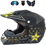 YXLM - Casco de motocross, para niños, para motocross, casco de motocross para niños, con máscara de guantes de gafas, certificación ECE y DOT (negro mate, XL)