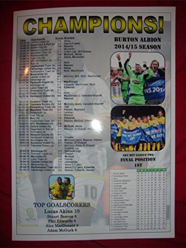 Burton Albion League Two champions 2015 - souvenir print