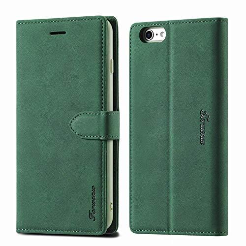 LOLFZ Hülle für iPhone 6, für iPhone 6S Handyhülle, Premium Leder Handyhülle mit Kartenfach Ständer Magnetische Schutzhülle Kompatibel mit iPhone 6/6S - Grün