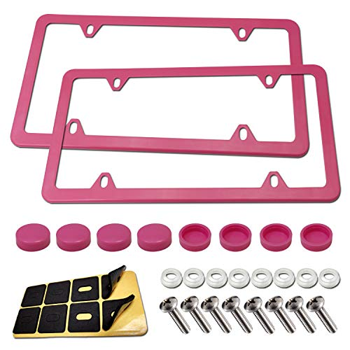 BGGTMO Pink License Plate Frames- Stainless Steel Car Tag Holder, Slim Custom Bling Front & Rear Covers for US Vehicles, Cute Red Car Accessories for Women, with Screws, Caps, 2 Pack 4 Holes