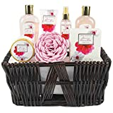 Green Canyon Spa Gift Baskets for Women Spa Gift Sets 8 Pcs Cherry Blossom Essential Oil Bath Set with...