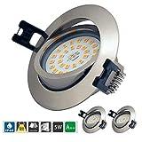 Empotrable LED 5W 500LM 230V Empotrar Luz en el Techo Blanco Cálido 3000K,Redondo,Ultra Delgado, Regulable, IP44 para sala de estar, dormitorio, cocina (Paquete de 3)