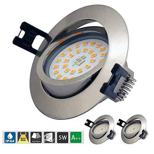 LED Einbaustrahler Dimmbar 5W 230V IP44 Ultra flach 3er Set Warmweiß 500LM LED Einbaustrahler Schwenkbar LED Spot für Wohnzimmer, Badezimmer, Büro