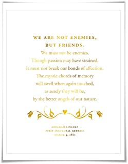 Abraham Lincoln Presidential Inaugural Speech Gold Foil Art Print. 7 Foil Colours. Better Angels of our Nature. American History Poster