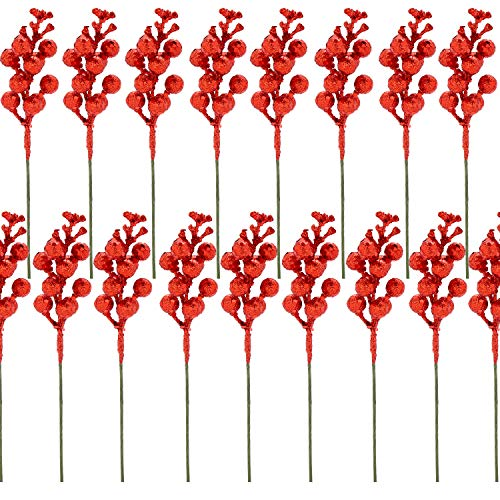 VEYLIN Christmas Red Glitter Berries Stems, Red Berry Branches Ornaments for Christmas Wreath Christmas Tree (24Pack)