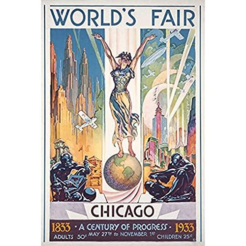 zachking Chicago World39s Fair Poster , Frau Auf Globus , Vintage Werbung 44077 9x12 Kunstdruck , Wanddekor Reiseplakat Poster Amp-drucke. 60x90cm Framed