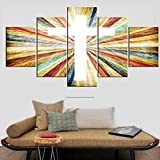 Religious Crosses to Hang on Wall Christian Paintings Church Decorations Colorful Picture 5 Panel Canvas Wall Art Modern Artwork Home Decor for Living Room Wooden Framed Ready to Hang(60''Wx32''H)