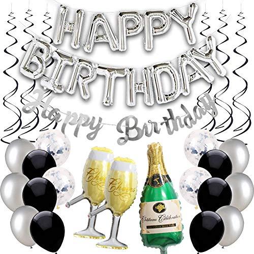Happy Birthday Ballon Silber Schwarz Girlande Geburtstagsdeko Herren Damen Folienballons Silber Konfetti Luftballons Spiralen Geburtstag Deko set