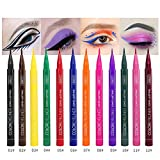 Lucoss Eyeliner Liquido Colores - Delineador de Ojos de Colores - Lapiz de Ojos Waterproof Resistente al Agua 12 Colores Negro Verde Amarillo Rosa Morado Azul