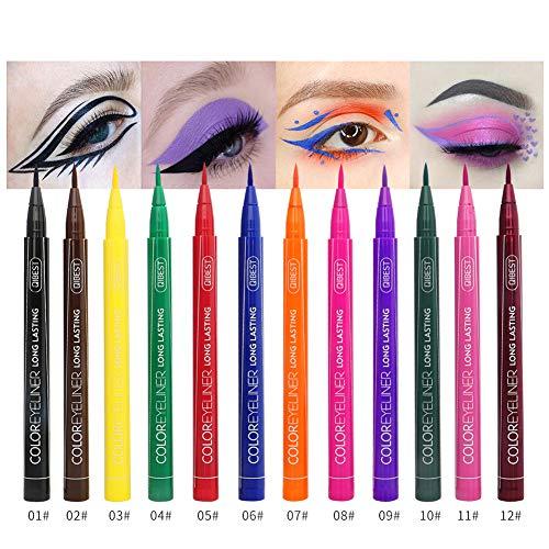 Colourful Eyeliner, ROMANTIC BEAR Wasserdichte Bunte Flüssige Eyeliner Bleistifte Schnell Trocknend Langlebig Eyeliner Stift Makeup Tools Schwarz/Blau/Rot/Braun